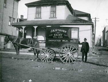 1900 年代 Steveston 區農場的牛奶車。(City of Richmond Archives)