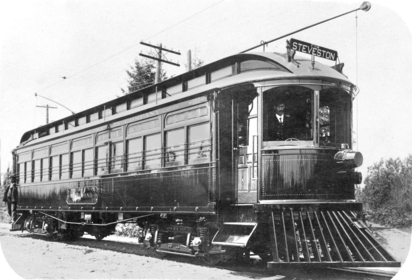 1906 年外號「Sockeye Special」的 Interurban。(City of Richmond Archives)